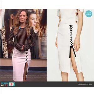 Zara NWT High Waist Lace Up Pencil Skirt